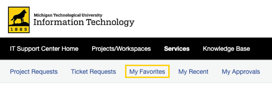 My Favorites highlighted in Service Catalog main menu