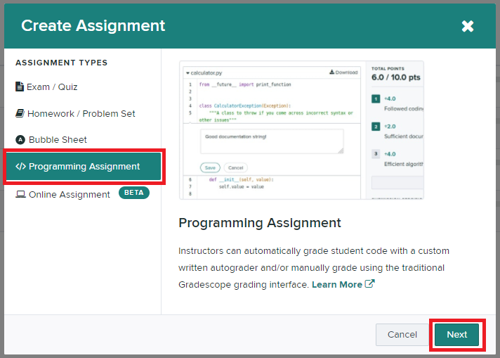 Assignment type menu options