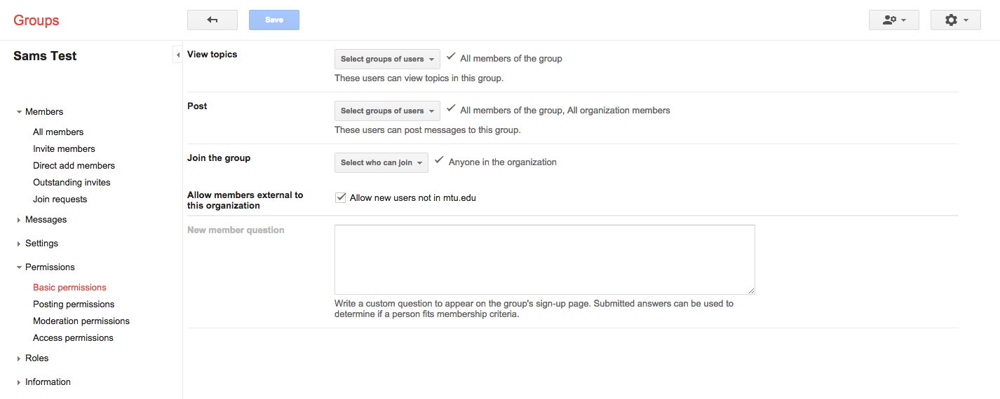 Google Group Management Page