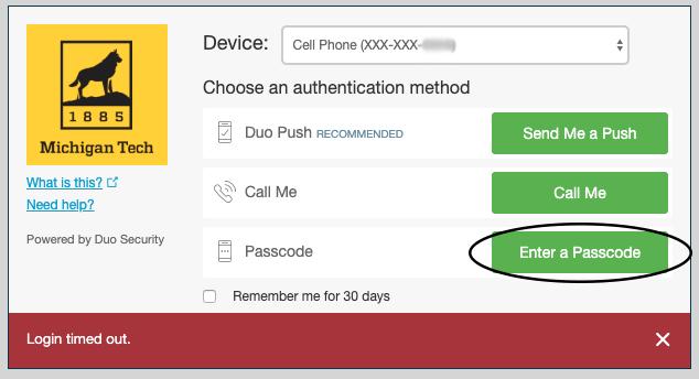 "Duo pop-up window highlighting ""Enter a Passcode"" option"