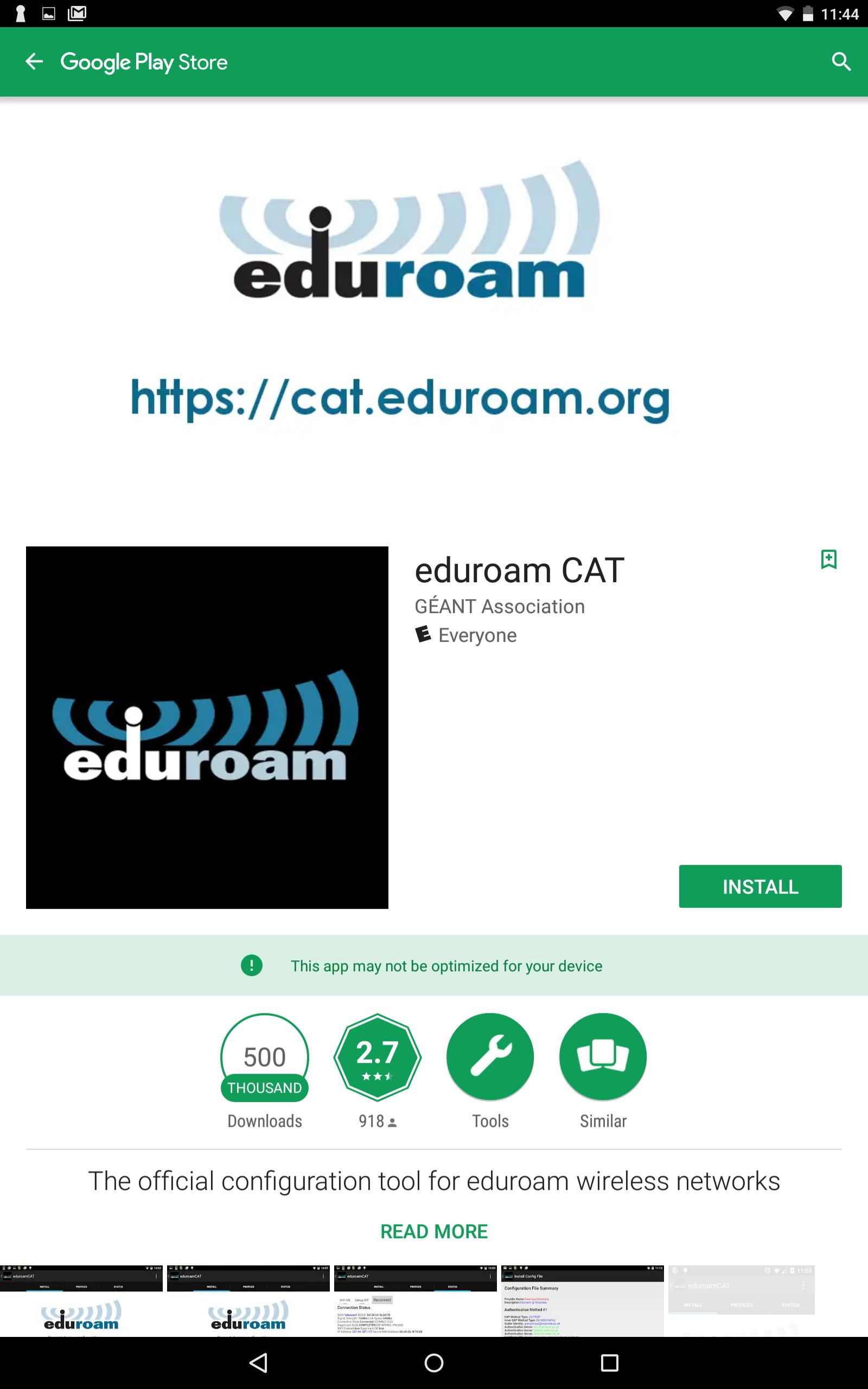 eduroam app in google play store