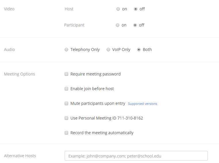 Additional meeting options