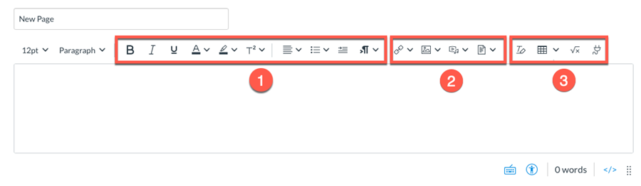 Rich Content Editor showing the toolbar menu