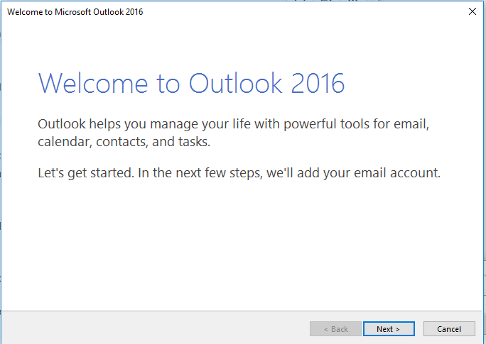 Outlook Welcome Screen