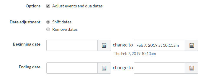 Calendar date section of the import content menu