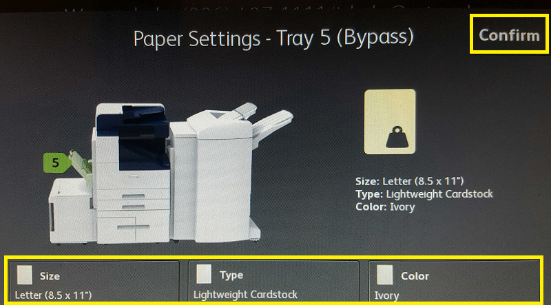 Paper Settings - Tray 5 (Bypass)