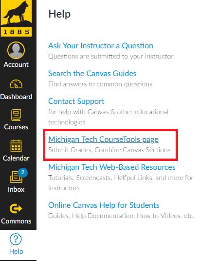 Michigan Tech CourseTools Page