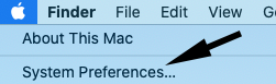 Arrow pointing to system preferences in the Apple Menu