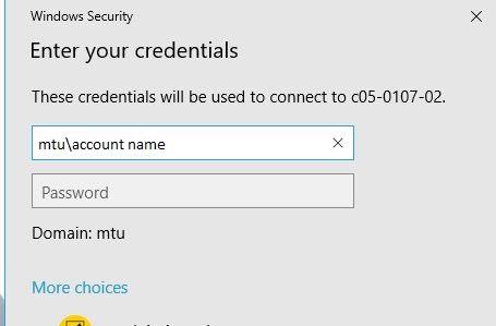 Enter MTU domain credentials