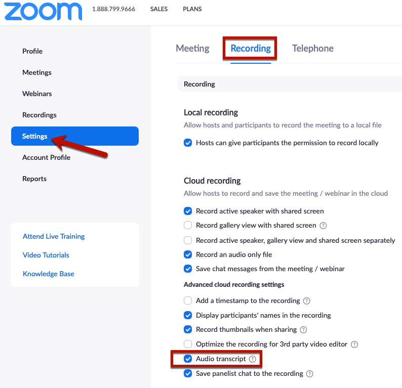 Zoom User Settings page showing the box to enable audio transcription of cloud recordings.