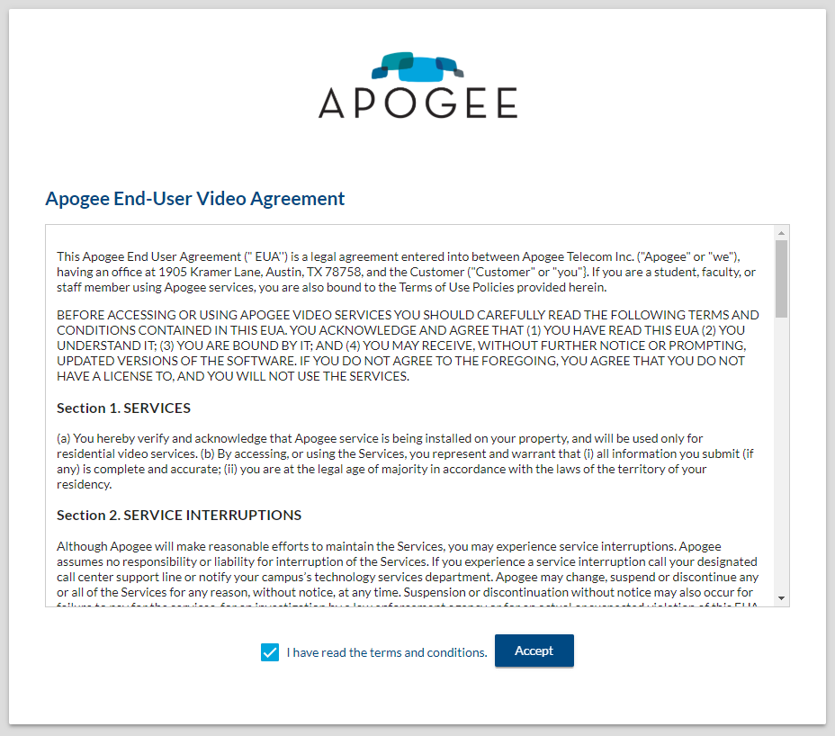 Apogee End-User video agreement