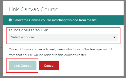 'Link Canvas course' menu to select course