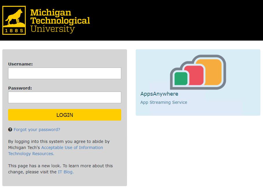 Michigan Tech Single Sign on page