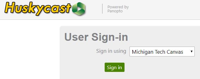 Huskycast login screen