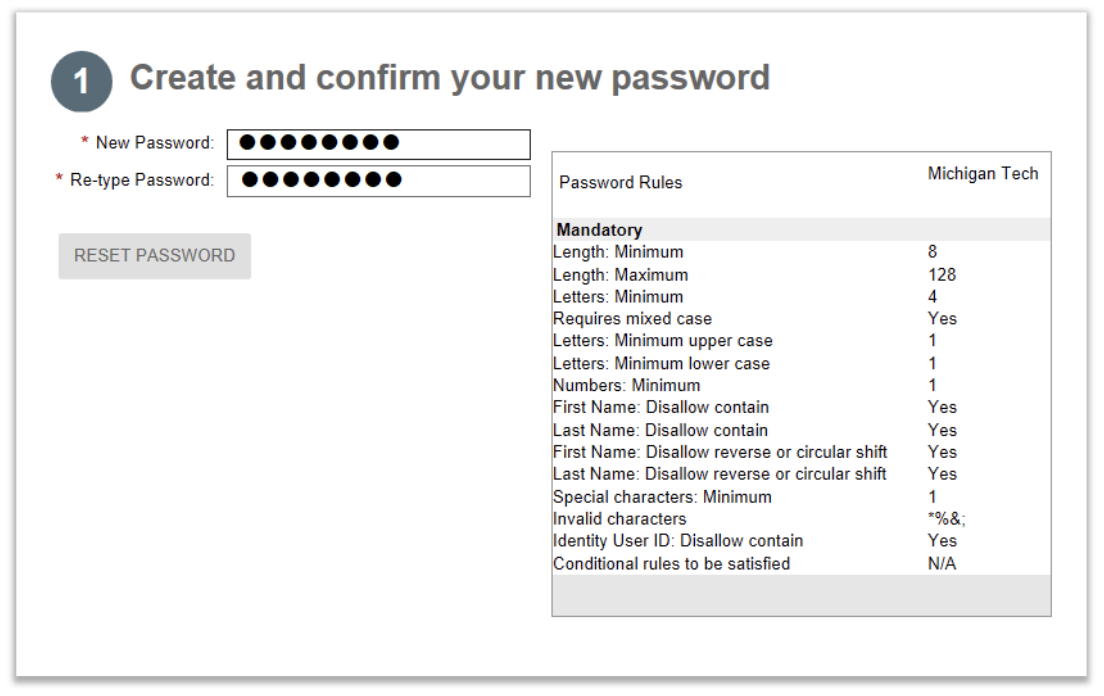 create and confirm new password window
