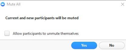 Mute All dialog box