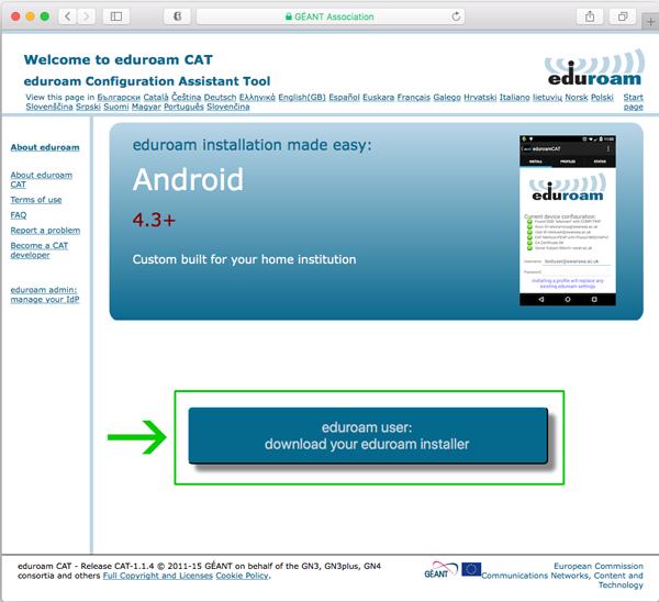 Eduroam configuration assistant tool screen