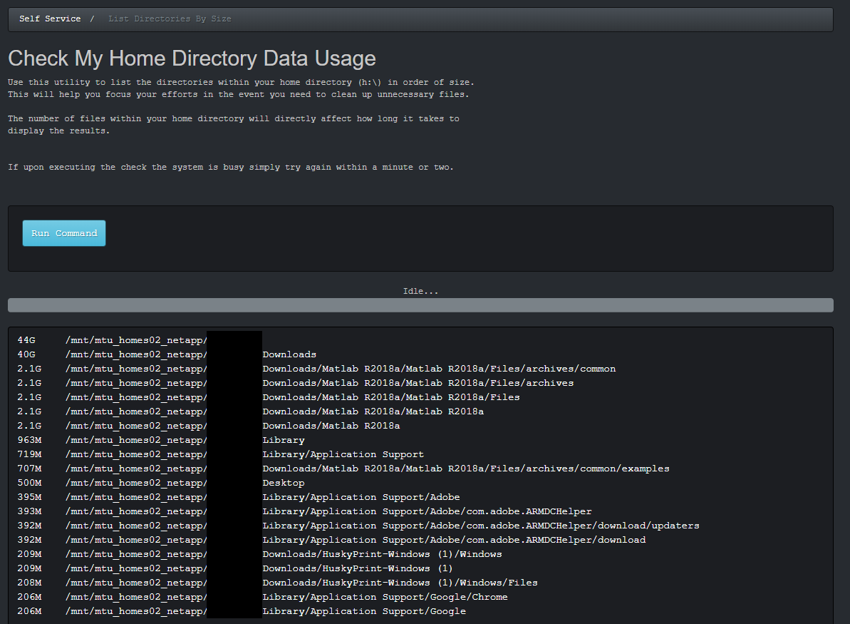 Directory by size output