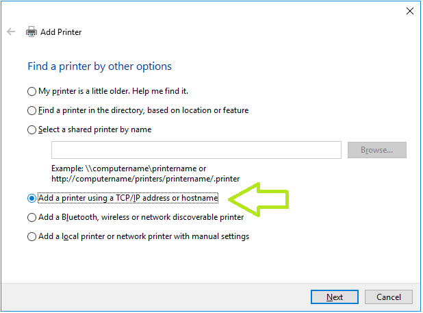 add printer using tcp/IP address or hostname