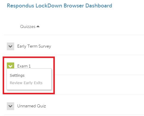 LockDown Browser quiz settings