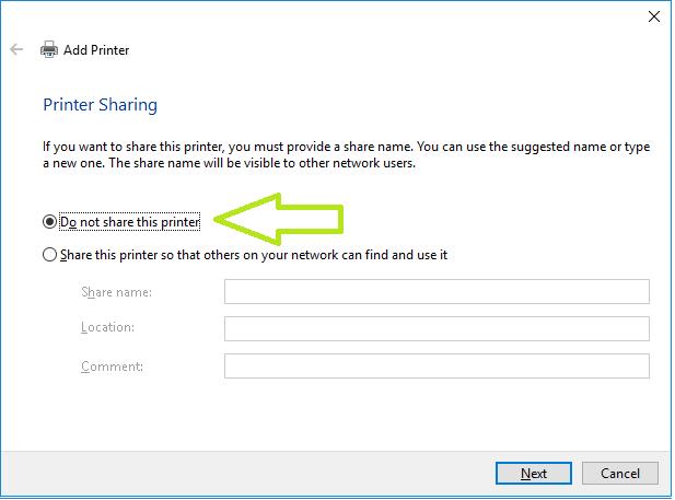 do not share this printer option