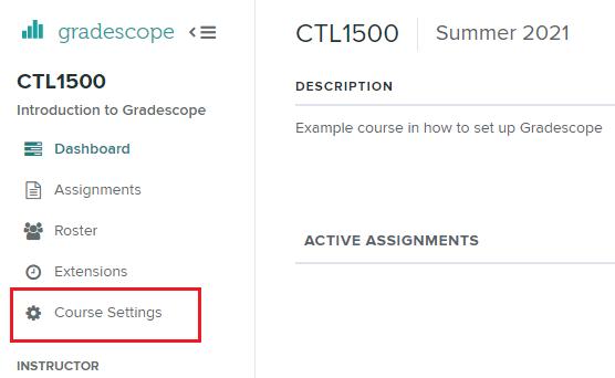 Gradescope course settings option
