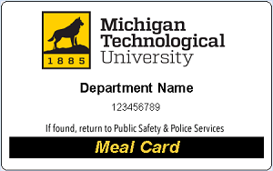 Departmental meal card