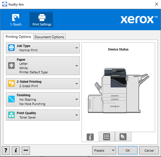 printing options available for personal computers
