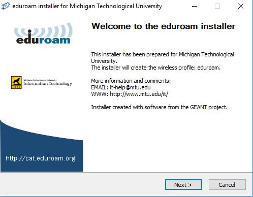 run the eduroam installer