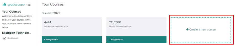 'create a new course' card option in Gradescope dashboard