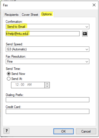 confirmation by email fields  highlighted