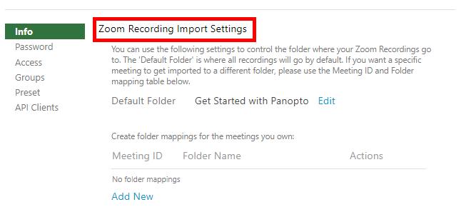 Zoom Recording Import Settings