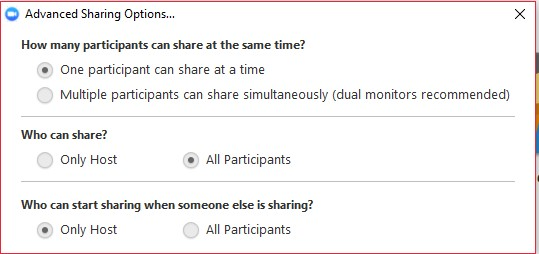 Advanced Sharing Options dialog box