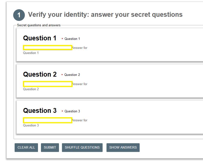 Verify Secret Questions