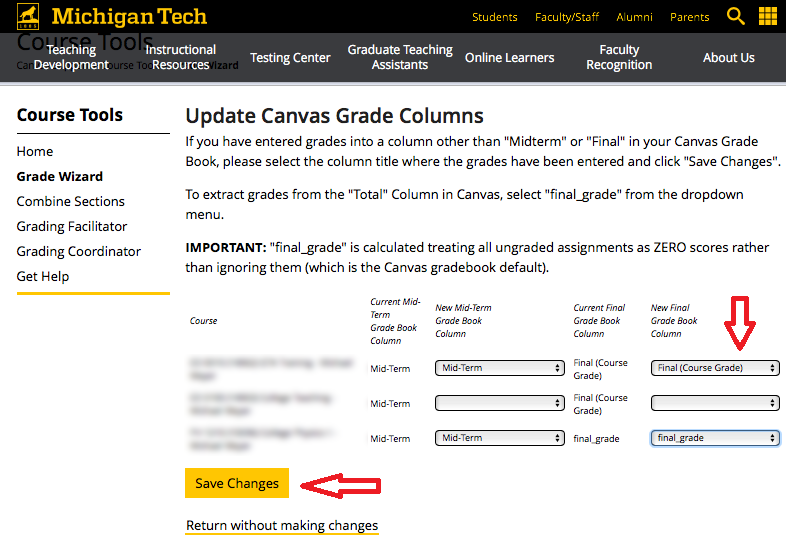 Selecting an alternative gradebook column