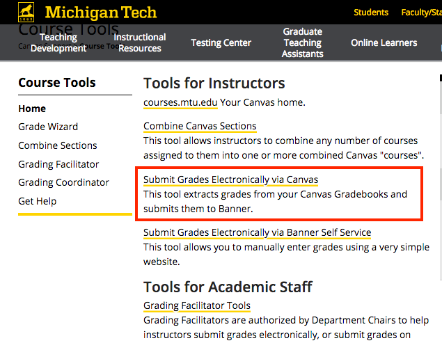 Michigan Tech CourseTools Page link