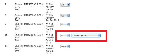 Choose option drop down