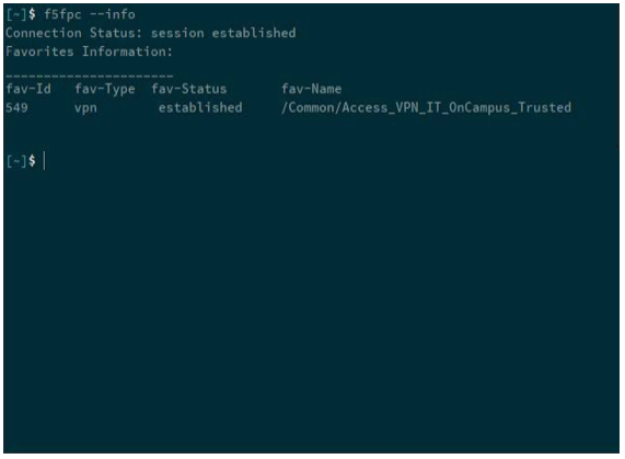 terminal window - check status of VPN