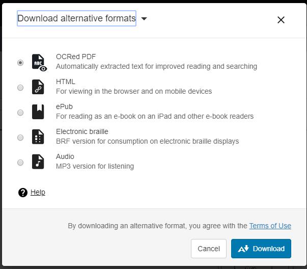 Alternative format selection screen